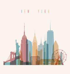 new york city skyline detailed silhouette vector image