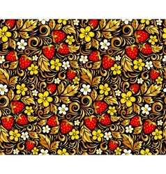 Seamless pattern in hohloma style vector
