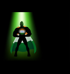 silhouette of a superhero under green light vector image vector image