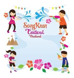 Songkran Festival Kids Playing Water Frame vector image vector image