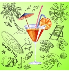 watercolor cocktail and tourist hand draw icon vector image