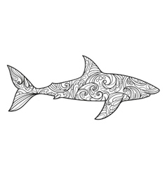Shark coloring book for adults vector image vector image