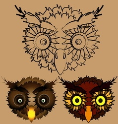 The heads of owls vector image vector image