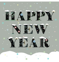 Happy New Year Black floral font vector image vector image