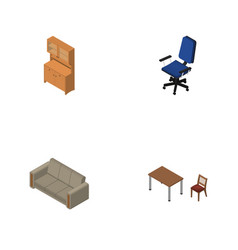 isometric furniture set of couch cupboard chair vector image