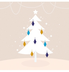 Winter retro tree with christmas decoration vector