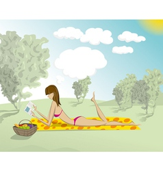 Woman in park with book vector