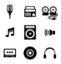 Black Music Icons vector image