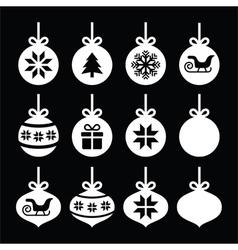 Christmas ball Christmas bauble white icons vector image vector image