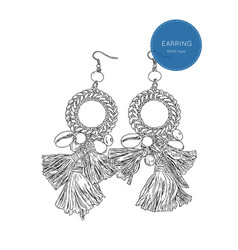 drop earring bohemian fashion style sketch vector image vector image