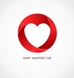 Heart Ribbon Logo Design Template vector image vector image