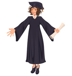 high school graduation young woman in black mantle vector image