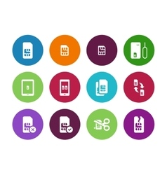 Internet 3G and 4G lte SIM card circle icons on vector image