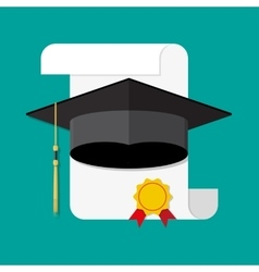 paper diploma with stamp and graduation cap vector image