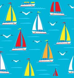 ship sailing boat sea seamless pattern vessel vector image