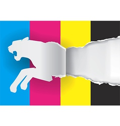 Tiger ripping paper with print colors vector image