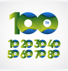 100 th anniversary celebrations green blue vector