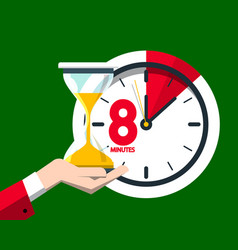 8 eight minutes clock icon vector image