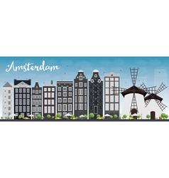 Amsterdam city skyline vector