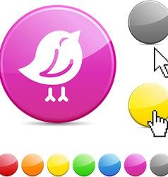 Bird glossy button vector