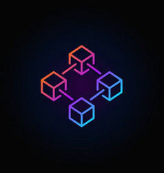 Blockchain colorful line icon or logo vector