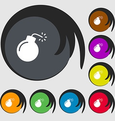 bomb icon sign Symbols on eight colored buttons vector image