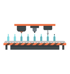 Bottle drink assembly line icon flat style vector