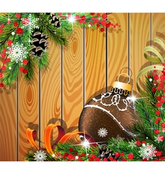 Brown Christmas ball on wooden background vector