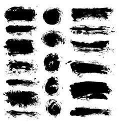 Brush strokes set painted isolated objects vector
