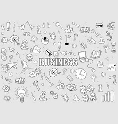 business doodles objects background drawing by vector image