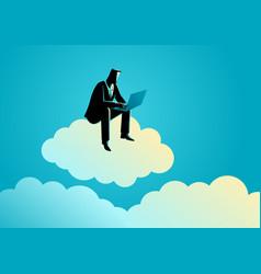 businessman sits on cloud vector image
