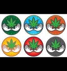 Cannabis marijuana leaf peaceful dove symbol vector