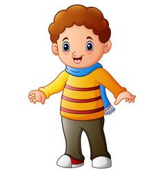Cartoon boy with a scarf vector