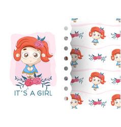 cartoon cute little girl with flower vector image