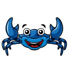cartoon happy blue crab vector image