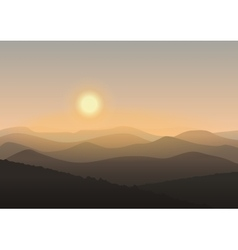 Cartoon mountain landscape in sunrise Background vector