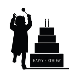 Child silhouette with cake vector