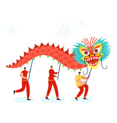 Chinese lunar new year carnival people with dragon vector