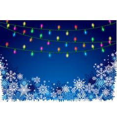 christmas lights and snowflakes vector image