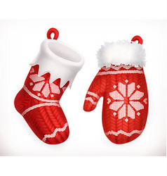 Christmas sock and winter knitted mitten 3d icon vector