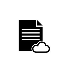 cloud storage text document flat icon vector image