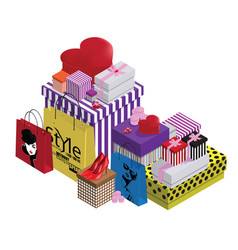 Colorful gift boxes and paper bags vector