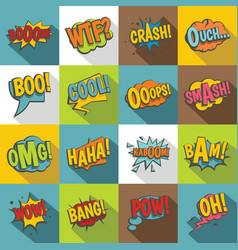 Comic colored sound icons set flat style vector