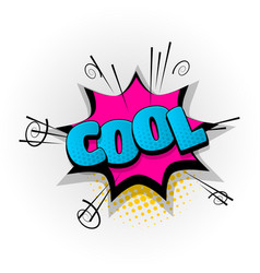Cool wow super comic book text pop art vector