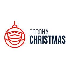corona christmas face mask ball banner vector image