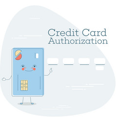 Credit card authorization concept in line style vector