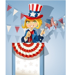 Cute blond girl in a suit of Uncle Sam stands on vector image