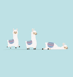 Cute llama and alpaca character set vector