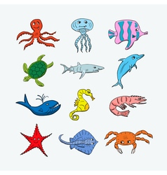 Cute ocean hand drawn animals vector