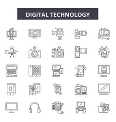 digital technology line icons signs set vector image